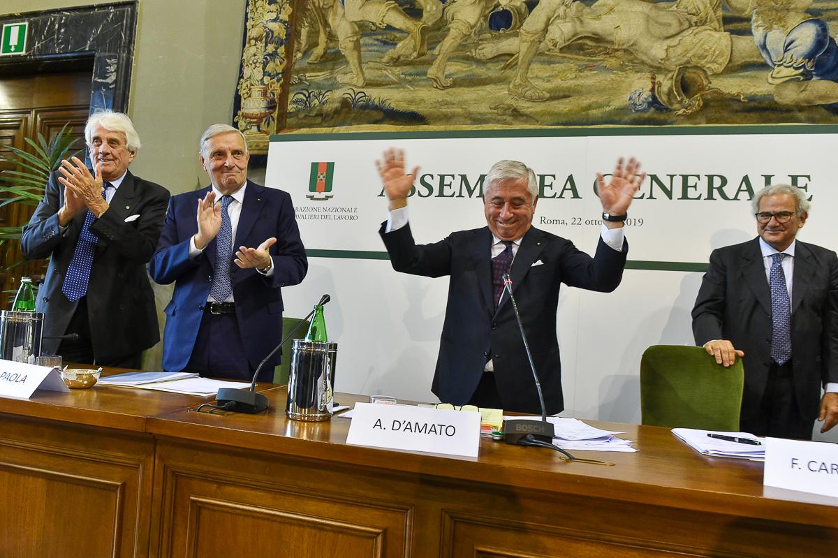 Antonio D'Amato eletto Presidente Onorario della Federazione dei Cavalieri del Lavoro - Assemblea Generale - Roma 22 ottobre 2019