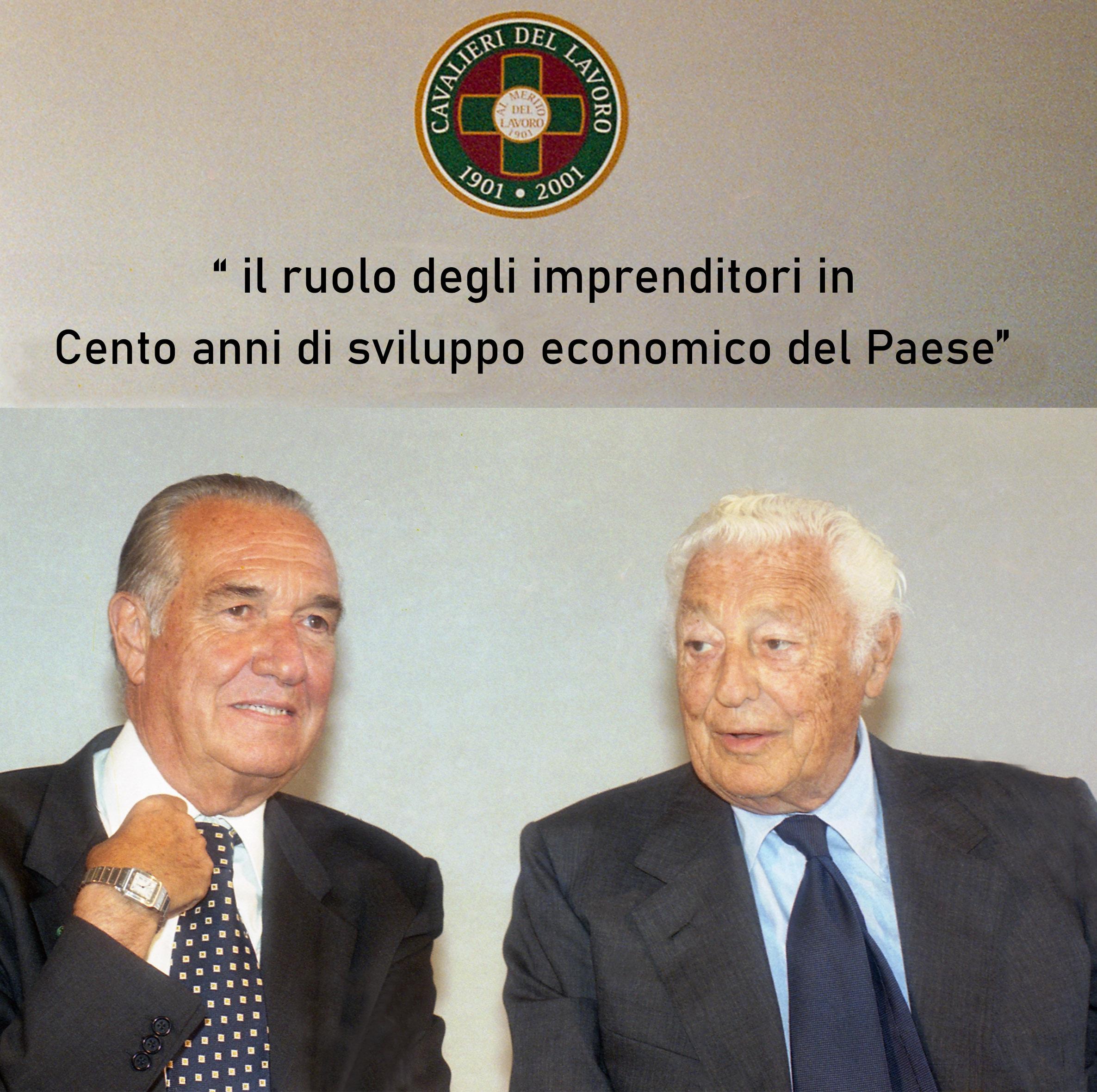 Gianni Agnelli e Alfredo Diana, presidente emerito Fncl, in occasione della celebrazione del centenario dell'Ordine