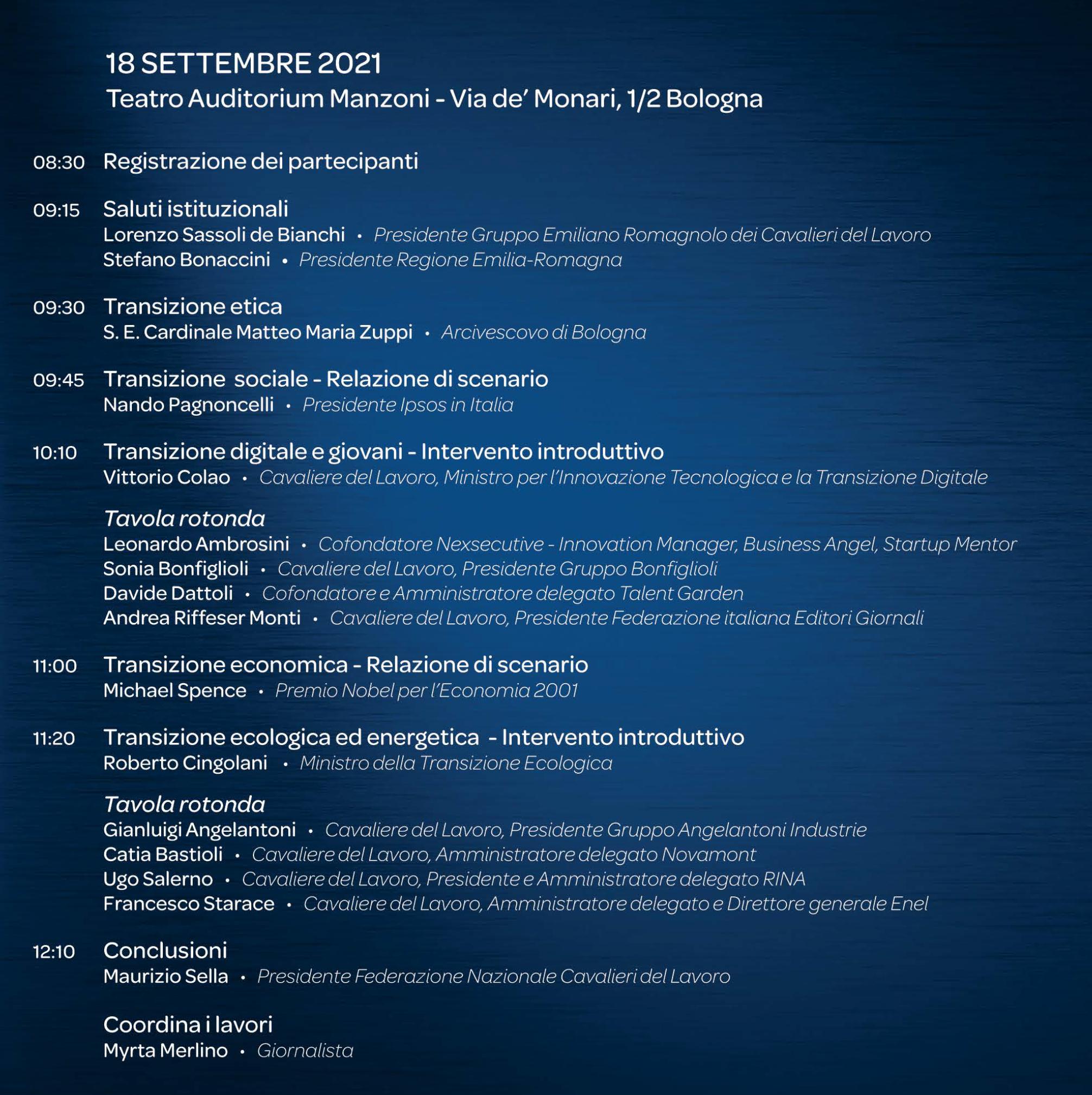 La grande Transizione - Bologna 18 settembre 2021